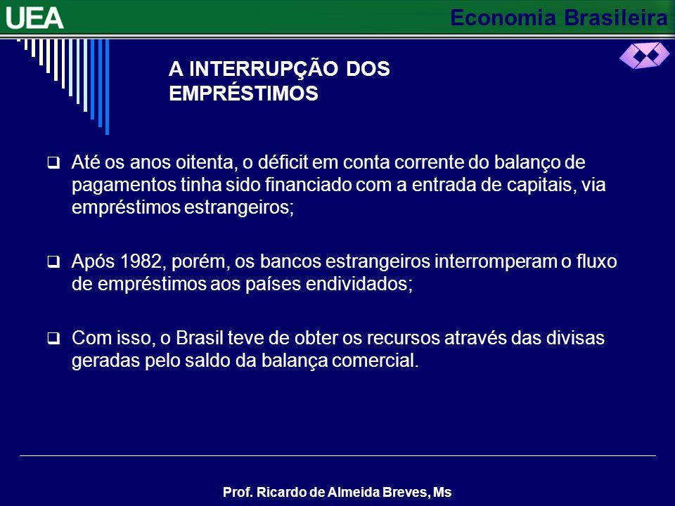 Economia Brasileira Prof. Ricardo de Almeida Breves, Ms A INTERRUPÇÃO DOS EMPRÉSTIMOS Até os anos oitenta, o déficit em conta corrente do balanço de p