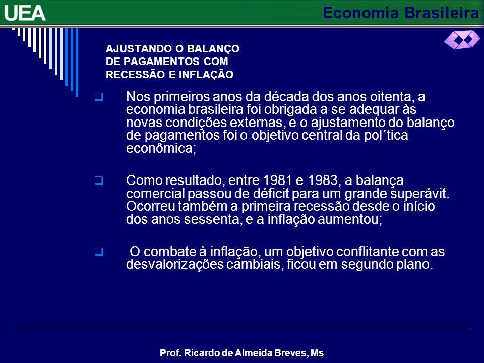 Economia Brasileira Prof. Ricardo de Almeida Breves, Ms AJUSTANDO O BALANÇO DE PAGAMENTOS COM RECESSÃO E INFLAÇÃO Nos primeiros anos da década dos ano