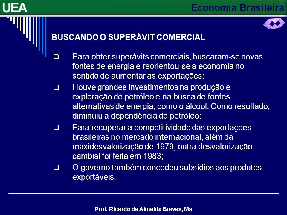 Economia Brasileira Prof. Ricardo de Almeida Breves, Ms BUSCANDO O SUPERÁVIT COMERCIAL Para obter superávits comerciais, buscaram-se novas fontes de e