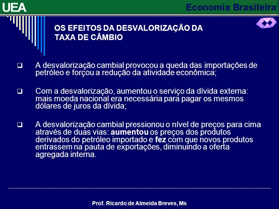 Economia Brasileira Prof. Ricardo de Almeida Breves, Ms OS EFEITOS DA DESVALORIZAÇÃO DA TAXA DE CÂMBIO A desvalorização cambial provocou a queda das i
