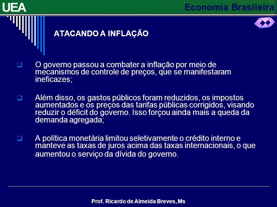 Economia Brasileira Prof. Ricardo de Almeida Breves, Ms ATACANDO A INFLAÇÃO O governo passou a combater a inflação por meio de mecanismos de controle