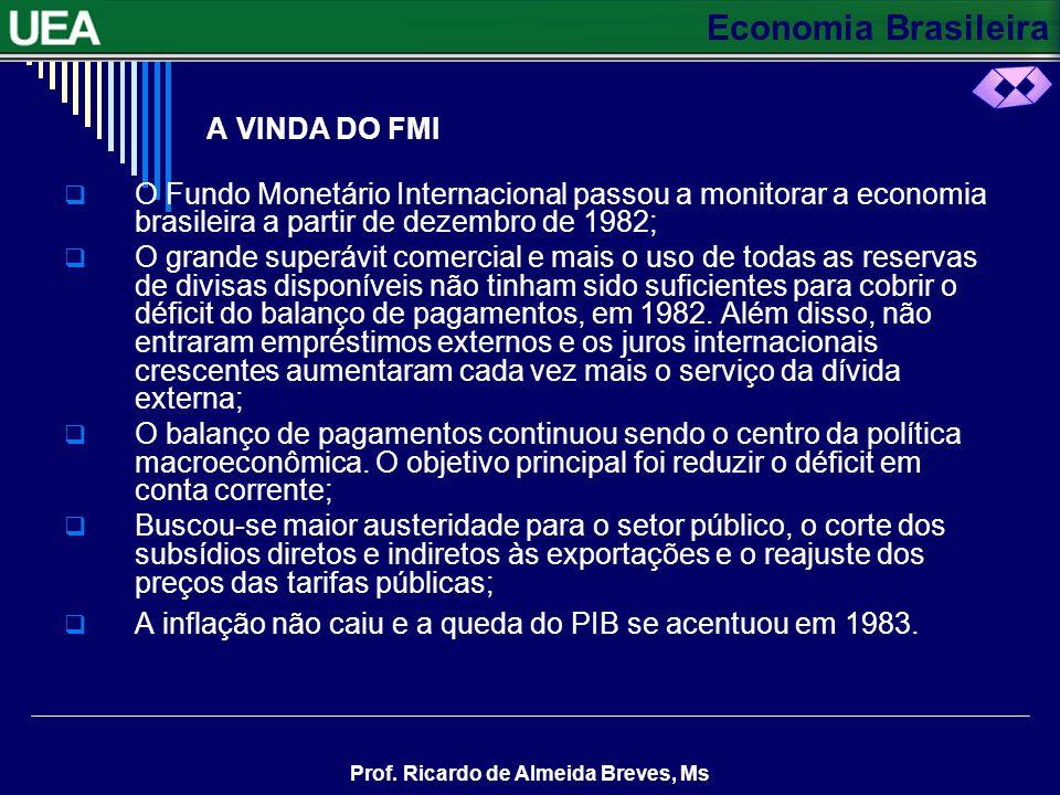Economia Brasileira Prof. Ricardo de Almeida Breves, Ms A VINDA DO FMI O Fundo Monetário Internacional passou a monitorar a economia brasileira a part
