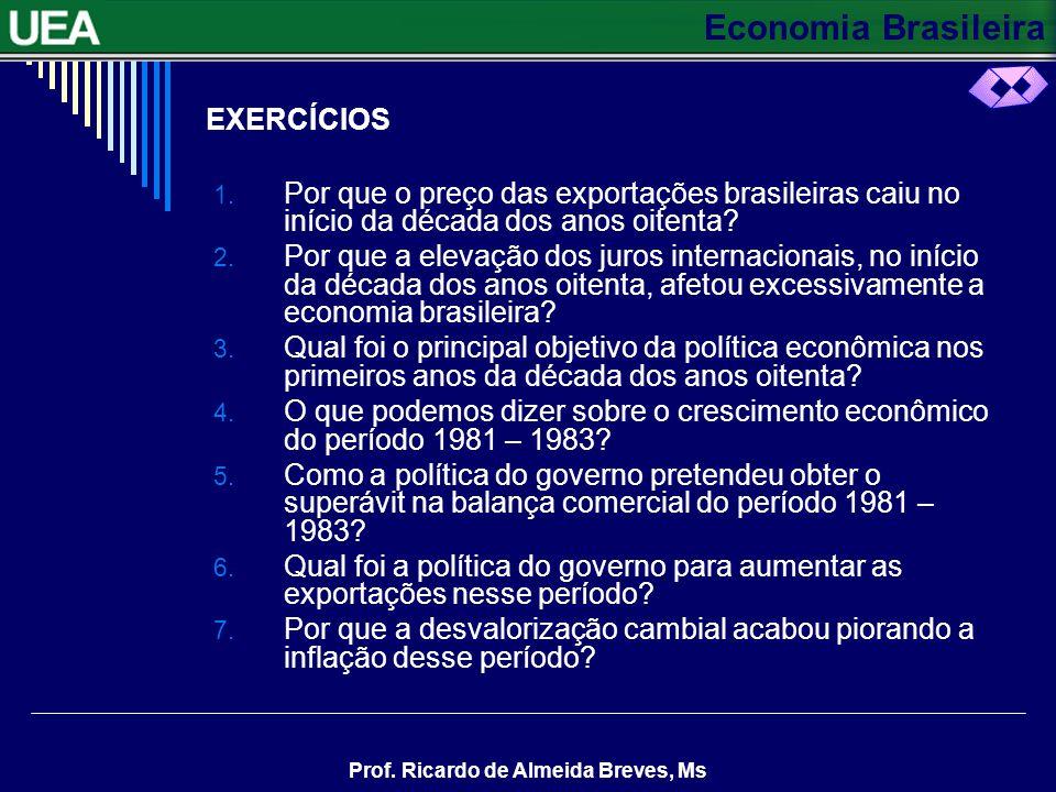 Economia Brasileira Prof. Ricardo de Almeida Breves, Ms EXERCÍCIOS 1. Por que o preço das exportações brasileiras caiu no início da década dos anos oi