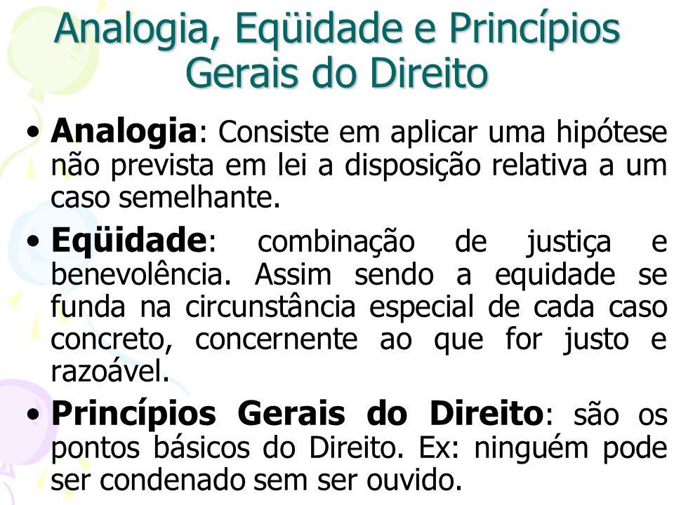 Analogia, Eqüidade e Princípios Gerais do Direito Analogia : Consiste em aplicar uma hipótese não prevista em lei a disposição relativa a um caso semelhante.