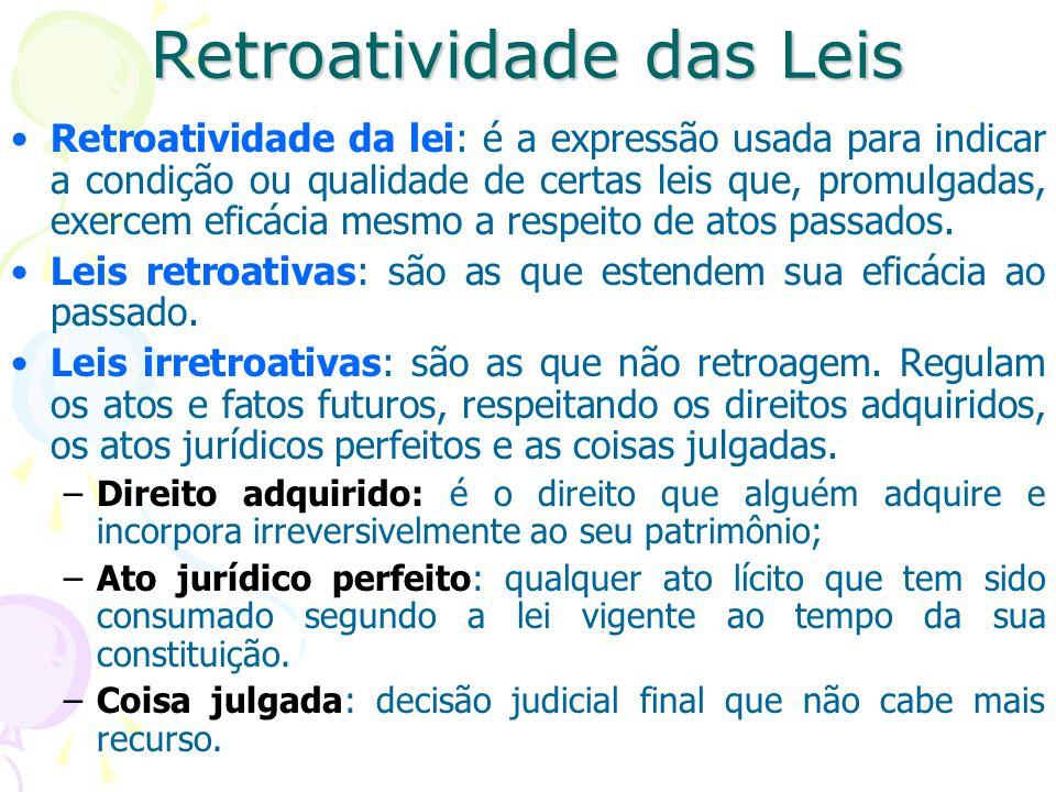 Retroatividade das Leis Retroatividade da lei: é a expressão usada para indicar a condição ou qualidade de certas leis que, promulgadas, exercem eficácia mesmo a respeito de atos passados.