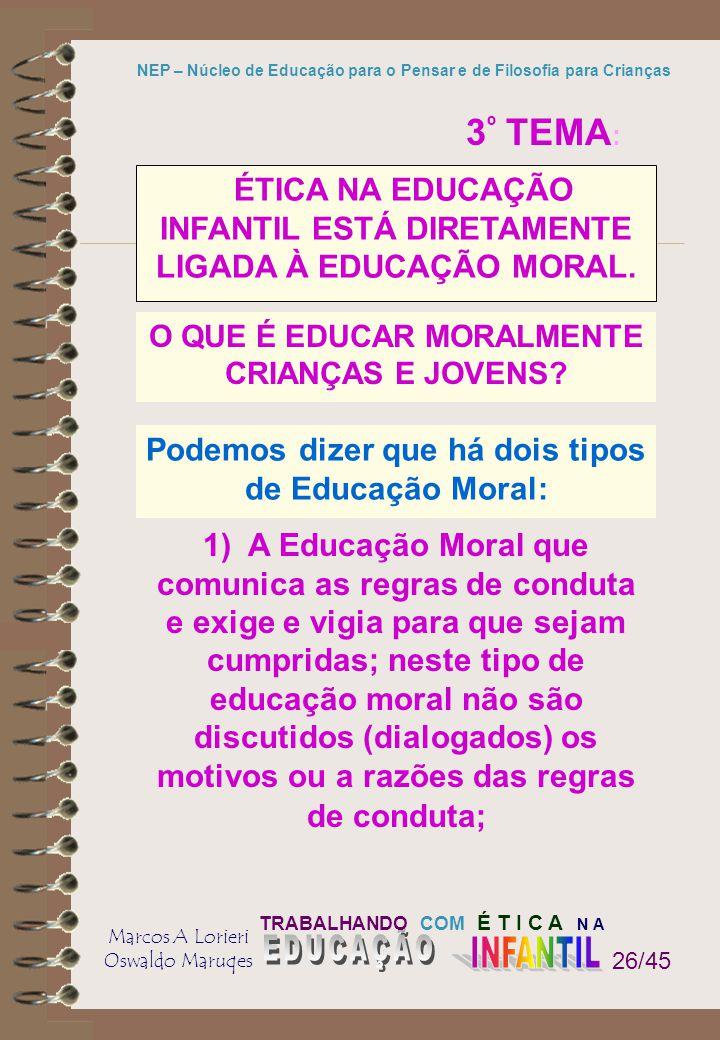 TRABALHANDO COM É T I C A N A Marcos A Lorieri Oswaldo Maruqes NEP – Núcleo de Educação para o Pensar e de Filosofia para Crianças 26/45 1) A Educação