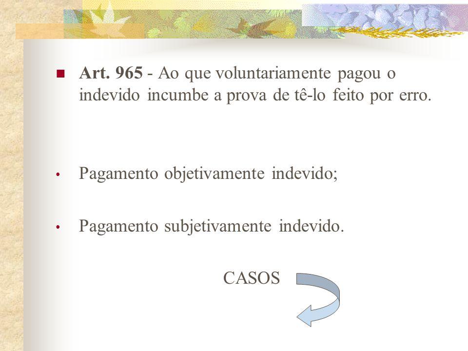 ARTIGOS DO C.C. BRASILEIRO Art. 964 - Todo aquele que recebeu o que lhe não era devido fica obrigado a restituir. A mesma obrigação incumbe ao que rec