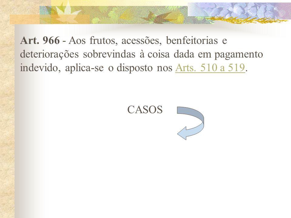 Os Arts. 966, 967 e 968, parágrafos únicos Efeitos da restituição conforme o animus do accipiens e a natureza da prestação