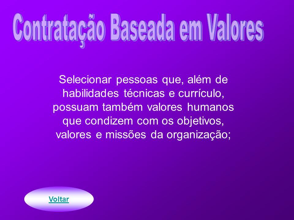 Selecionar pessoas que, além de habilidades técnicas e currículo, possuam também valores humanos que condizem com os objetivos, valores e missões da organização; Voltar