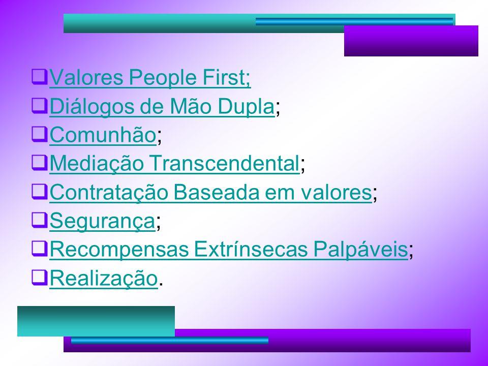 Valores People First; Diálogos de Mão Dupla; Diálogos de Mão Dupla Comunhão; Comunhão Mediação Transcendental; Mediação Transcendental Contratação Baseada em valores; Contratação Baseada em valores Segurança; Segurança Recompensas Extrínsecas Palpáveis; Recompensas Extrínsecas Palpáveis Realização.