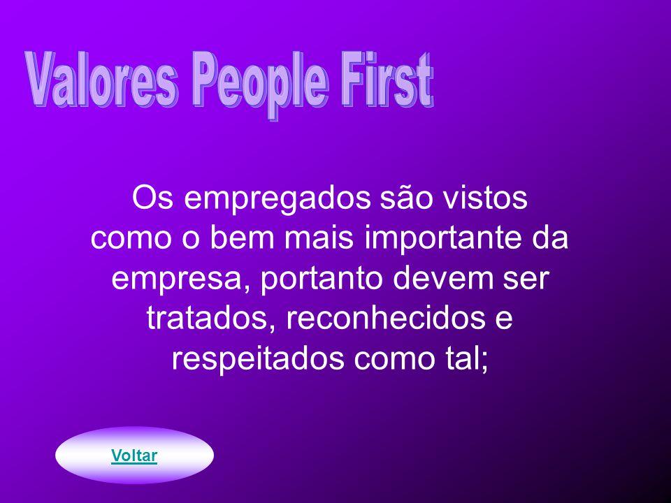 Os empregados são vistos como o bem mais importante da empresa, portanto devem ser tratados, reconhecidos e respeitados como tal; Voltar
