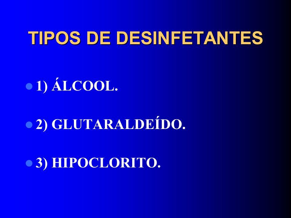 TIPOS DE DESINFETANTES 1) ÁLCOOL. 2) GLUTARALDEÍDO. 3) HIPOCLORITO.