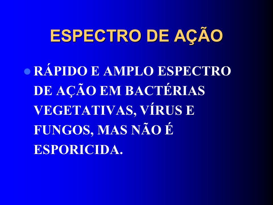 ESPECTRO DE AÇÃO RÁPIDO E AMPLO ESPECTRO DE AÇÃO EM BACTÉRIAS VEGETATIVAS, VÍRUS E FUNGOS, MAS NÃO É ESPORICIDA.