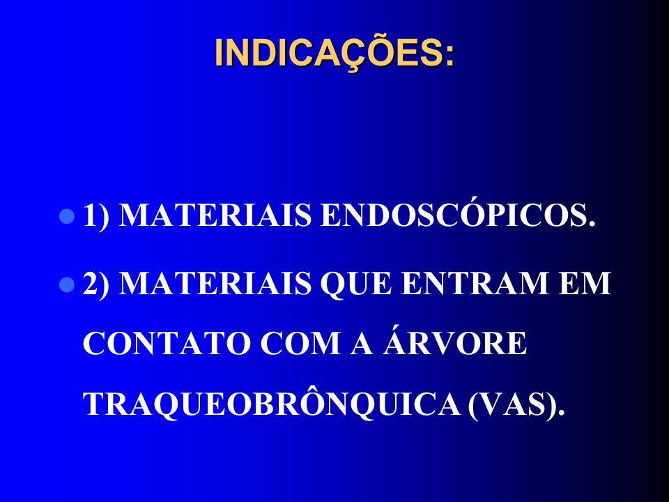 INDICAÇÕES: 1) MATERIAIS ENDOSCÓPICOS. 2) MATERIAIS QUE ENTRAM EM CONTATO COM A ÁRVORE TRAQUEOBRÔNQUICA (VAS).