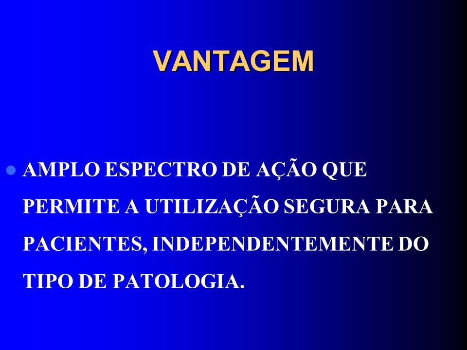 VANTAGEM AMPLO ESPECTRO DE AÇÃO QUE PERMITE A UTILIZAÇÃO SEGURA PARA PACIENTES, INDEPENDENTEMENTE DO TIPO DE PATOLOGIA.