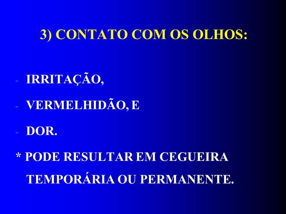 3) CONTATO COM OS OLHOS: - IRRITAÇÃO, - VERMELHIDÃO, E - DOR. * PODE RESULTAR EM CEGUEIRA TEMPORÁRIA OU PERMANENTE.