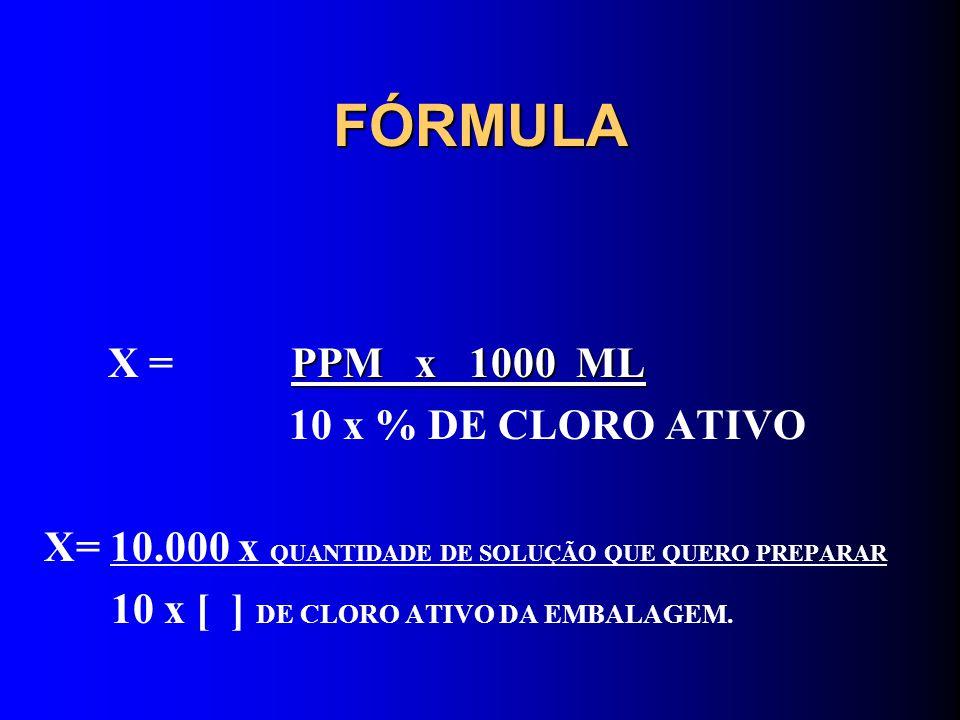 FÓRMULA PPM x 1000 ML X = PPM x 1000 ML 10 x % DE CLORO ATIVO X= 10.000 x QUANTIDADE DE SOLUÇÃO QUE QUERO PREPARAR 10 x [ ] DE CLORO ATIVO DA EMBALAGE