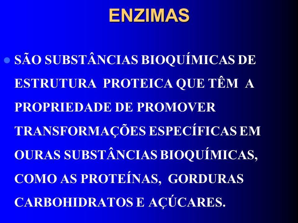 ENZIMAS SÃO SUBSTÂNCIAS BIOQUÍMICAS DE ESTRUTURA PROTEICA QUE TÊM A PROPRIEDADE DE PROMOVER TRANSFORMAÇÕES ESPECÍFICAS EM OURAS SUBSTÂNCIAS BIOQUÍMICA