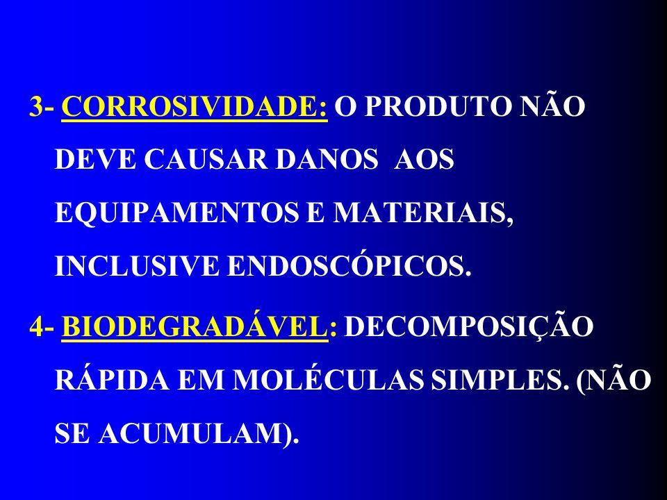 3- CORROSIVIDADE: O PRODUTO NÃO DEVE CAUSAR DANOS AOS EQUIPAMENTOS E MATERIAIS, INCLUSIVE ENDOSCÓPICOS. 4- BIODEGRADÁVEL: DECOMPOSIÇÃO RÁPIDA EM MOLÉC