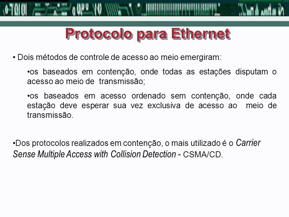 Protocolo para Ethernet Dois métodos de controle de acesso ao meio emergiram: os baseados em contenção, onde todas as estações disputam o acesso ao me