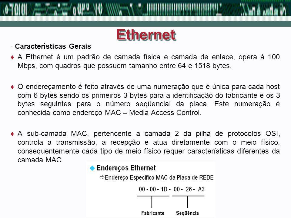 EthernetEthernet - Características Gerais A Ethernet é um padrão de camada física e camada de enlace, opera à 100 Mbps, com quadros que possuem tamanh