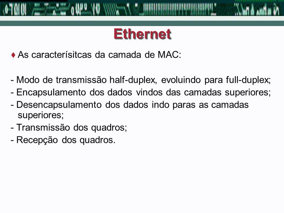 Ethernet As caracterísitcas da camada de MAC: - Modo de transmissão half-duplex, evoluindo para full-duplex; - Encapsulamento dos dados vindos das cam