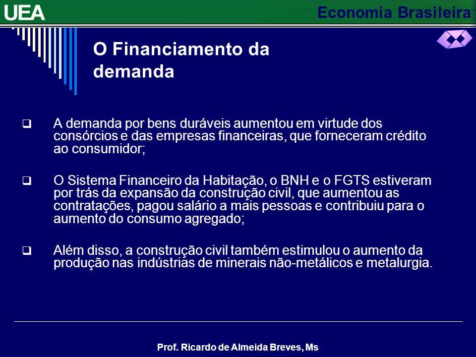 Economia Brasileira Prof. Ricardo de Almeida Breves, Ms O PAPEL DA INDÚSTRIA A indústria de bens duráveis (automóveis e eletrodomésticos) e a construç