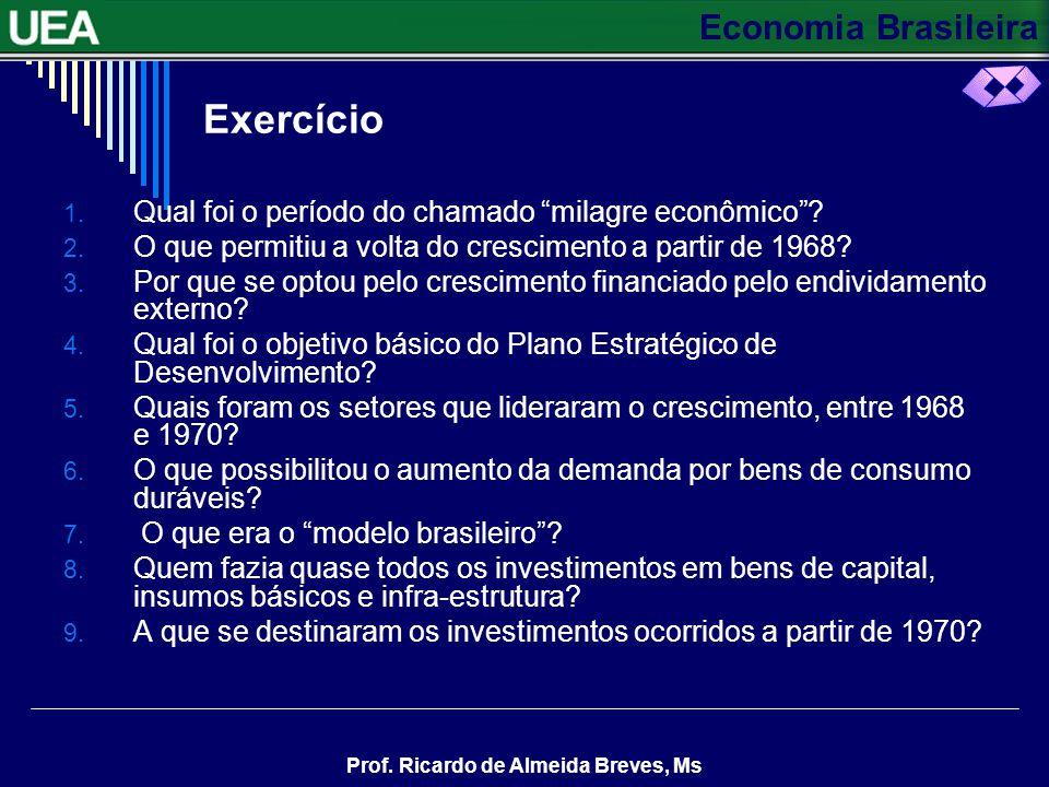 Economia Brasileira Prof. Ricardo de Almeida Breves, Ms Para o período 1972-1974, o governo elaborou o primeiro Plano Nacional de Desenvolvimento (PND