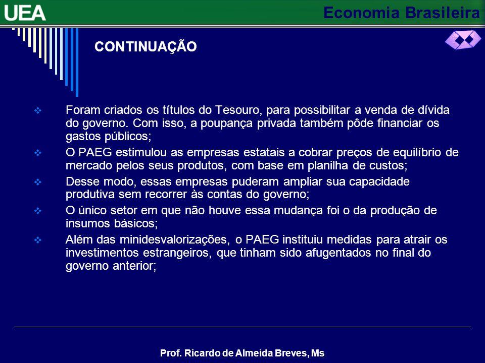 Economia Brasileira Prof. Ricardo de Almeida Breves, Ms CONTINUAÇÃO Os empréstimos de curto prazo seriam feitos pelos bancos comerciais, para financia
