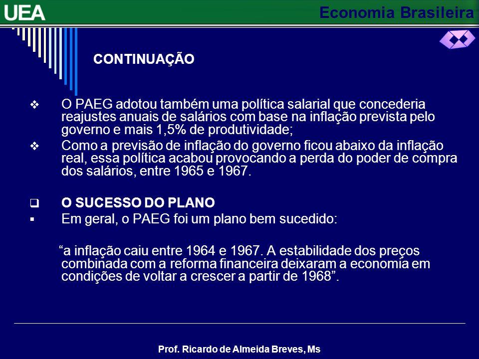 Economia Brasileira Prof. Ricardo de Almeida Breves, Ms CONTINUAÇÃO Foram criados os títulos do Tesouro, para possibilitar a venda de dívida do govern