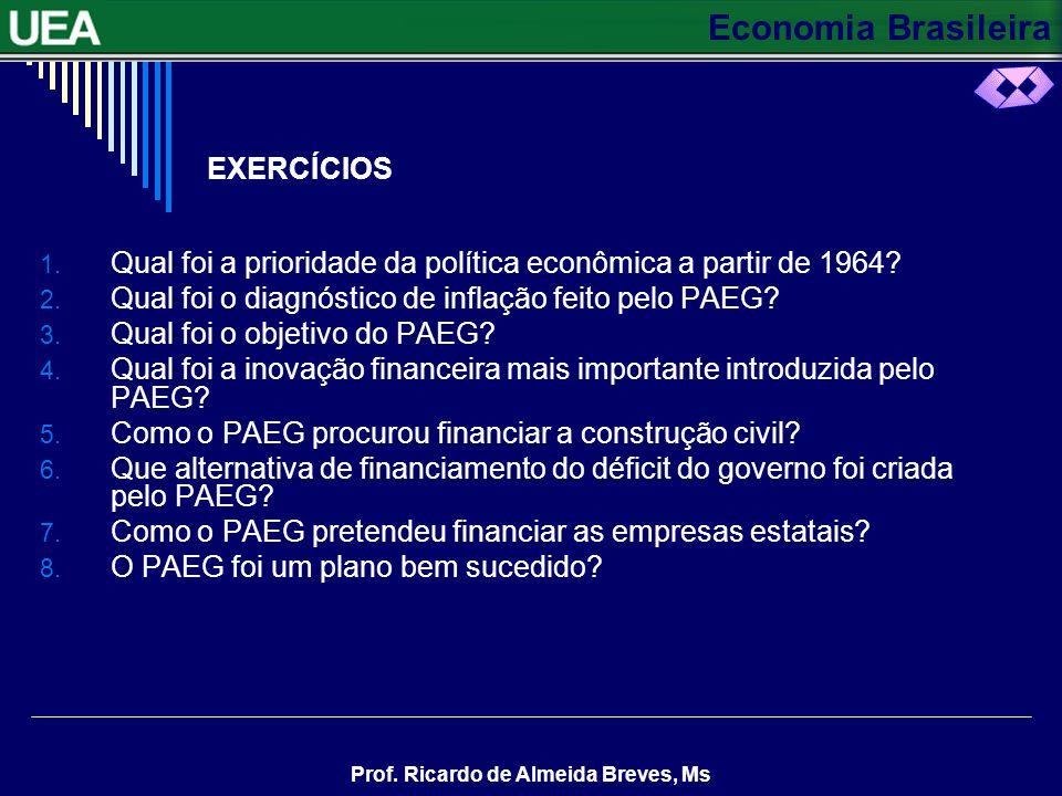Economia Brasileira Prof. Ricardo de Almeida Breves, Ms CONTINUAÇÃO O PAEG adotou também uma política salarial que concederia reajustes anuais de salá