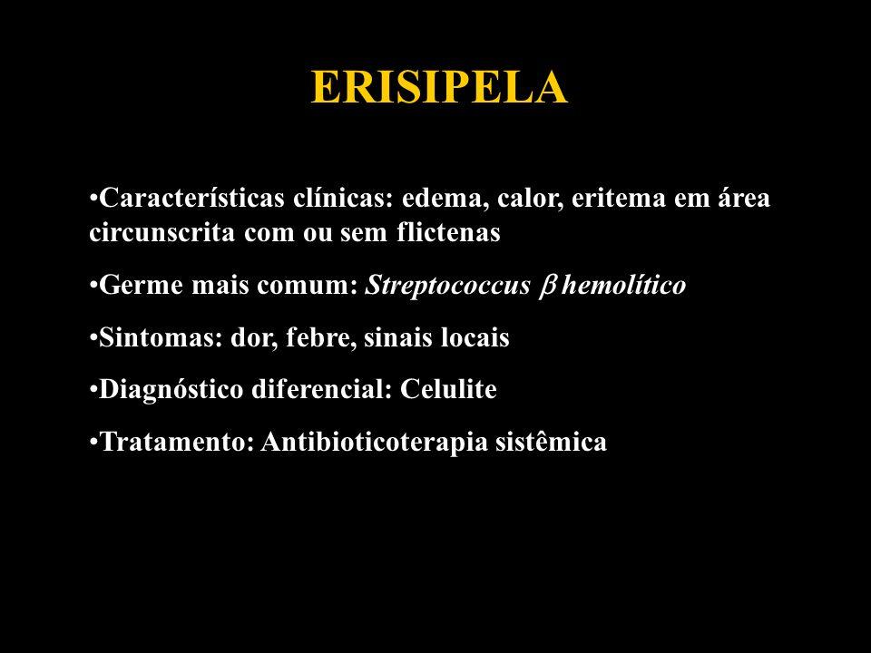 ERISIPELA Características clínicas: edema, calor, eritema em área circunscrita com ou sem flictenas Germe mais comum: Streptococcus hemolítico Sintoma