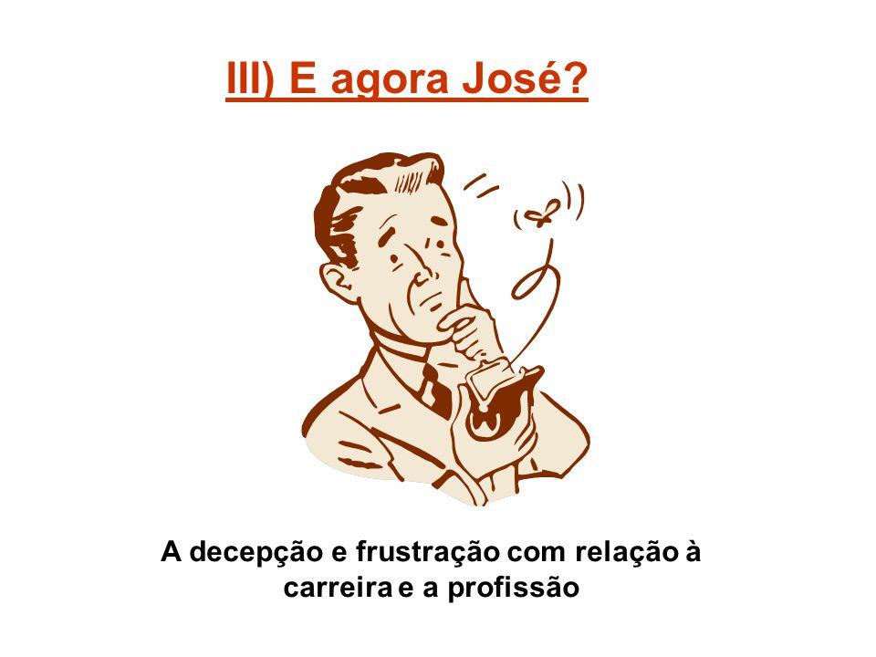 III) E agora José? A decepção e frustração com relação à carreira e a profissão