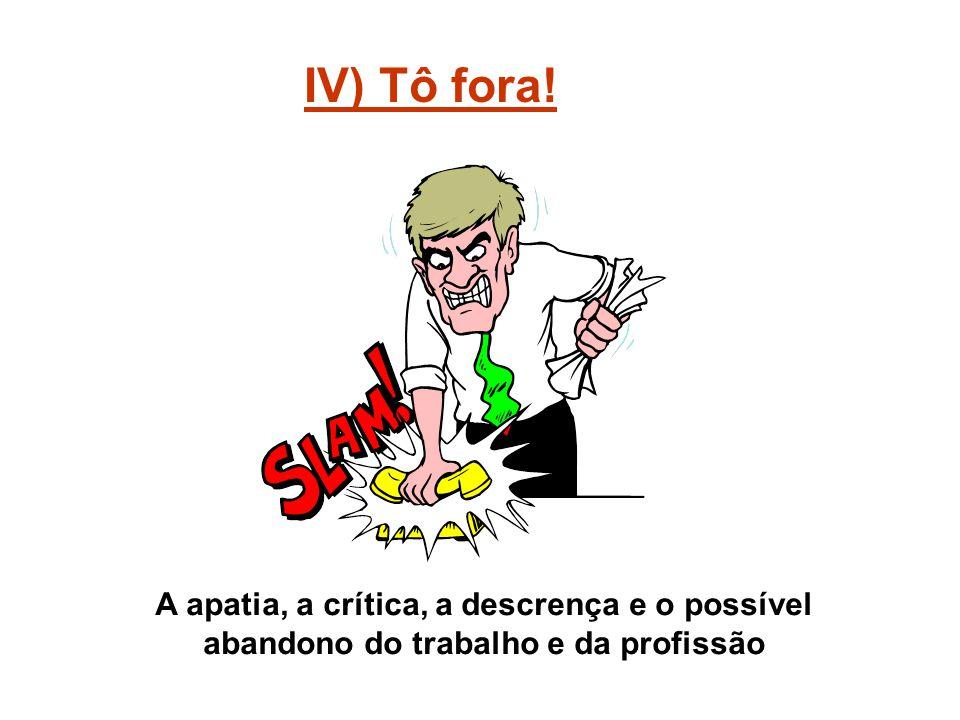 IV) Tô fora! A apatia, a crítica, a descrença e o possível abandono do trabalho e da profissão