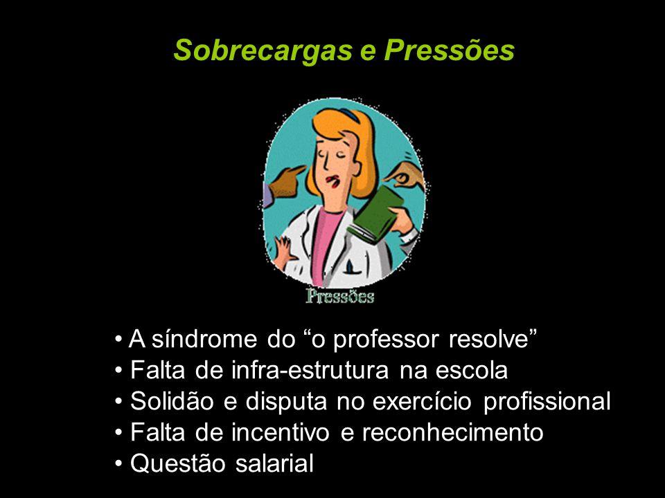 Sobrecargas e Pressões A síndrome do o professor resolve Falta de infra-estrutura na escola Solidão e disputa no exercício profissional Falta de incen