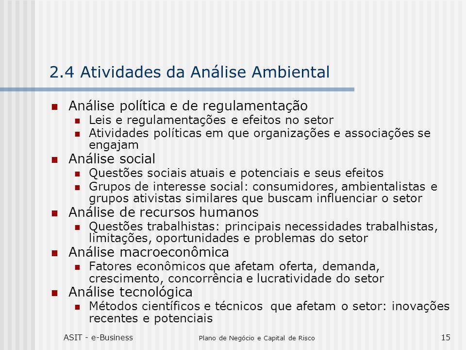 ASIT - e-Business Plano de Negócio e Capital de Risco 15 2.4 Atividades da Análise Ambiental Análise política e de regulamentação Leis e regulamentaçõ