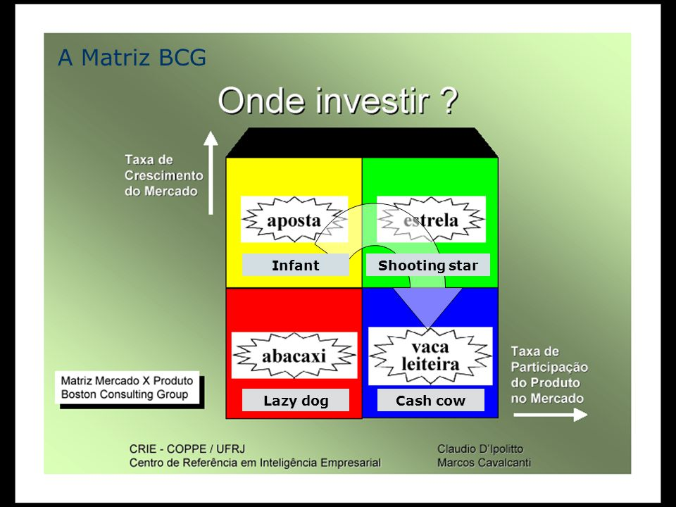 ASIT - e-Business Plano de Negócio e Capital de Risco 21 InfantShooting star Lazy dogCash cow A Matriz BCG