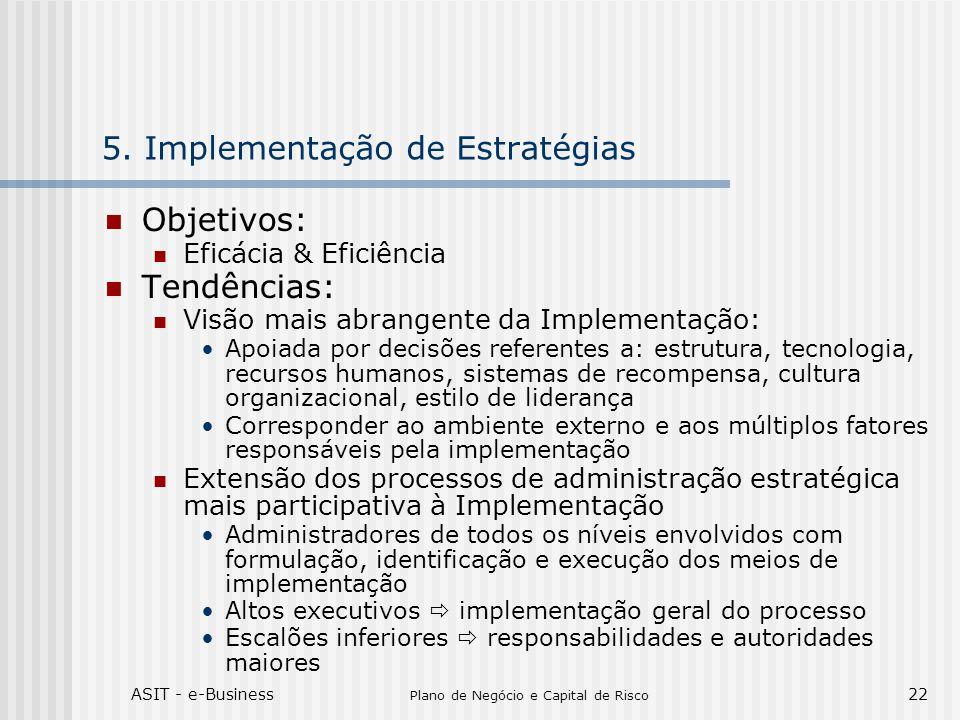ASIT - e-Business Plano de Negócio e Capital de Risco 22 5. Implementação de Estratégias Objetivos: Eficácia & Eficiência Tendências: Visão mais abran