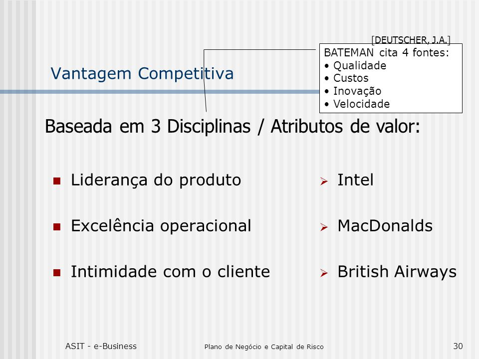 ASIT - e-Business Plano de Negócio e Capital de Risco 30 Vantagem Competitiva Liderança do produto Excelência operacional Intimidade com o cliente Int