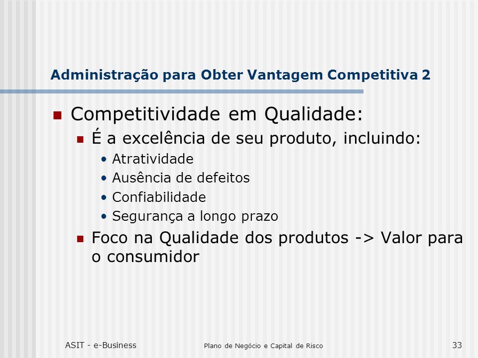 ASIT - e-Business Plano de Negócio e Capital de Risco 33 Administração para Obter Vantagem Competitiva 2 Competitividade em Qualidade: É a excelência de seu produto, incluindo: Atratividade Ausência de defeitos Confiabilidade Segurança a longo prazo Foco na Qualidade dos produtos -> Valor para o consumidor