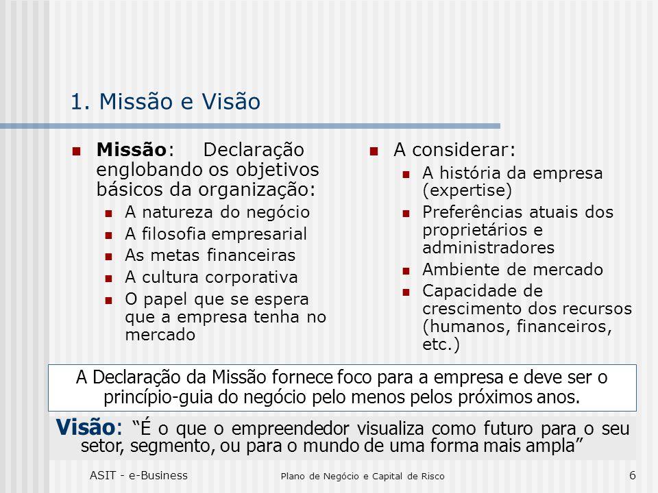 ASIT - e-Business Plano de Negócio e Capital de Risco 6 1. Missão e Visão Missão:Declaração englobando os objetivos básicos da organização: A natureza