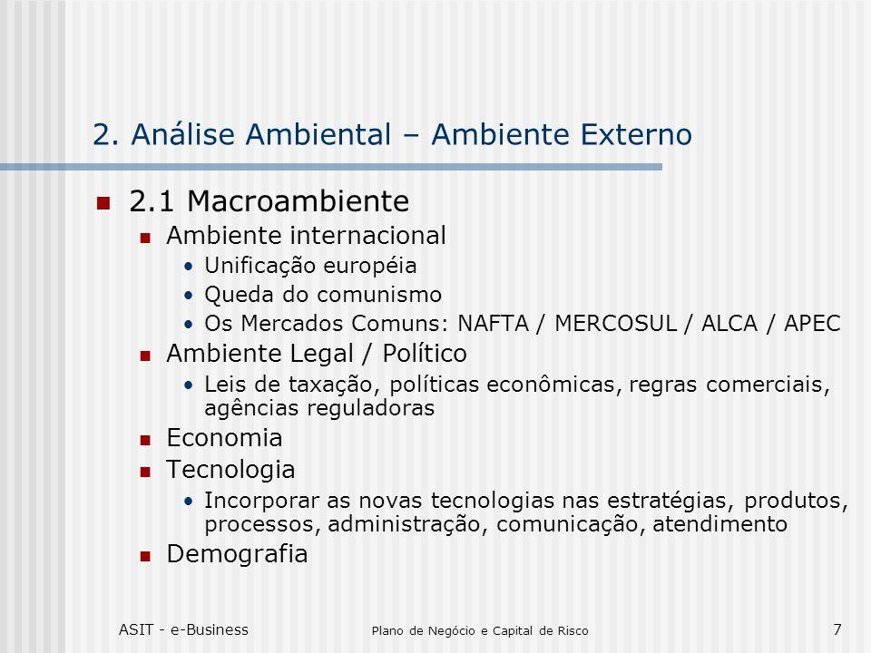 ASIT - e-Business Plano de Negócio e Capital de Risco 38 Soluções completas realizadas pelo grupo XYZ Grande conhecimento do mercado de TI no Brasil Competência estratégica Intercâmbio de soluções com empresas do Grupo FORÇAS Falta de conhecimento no mercado brasileiro da empresa XYZ em relação a consultoria estratégica em e-business.