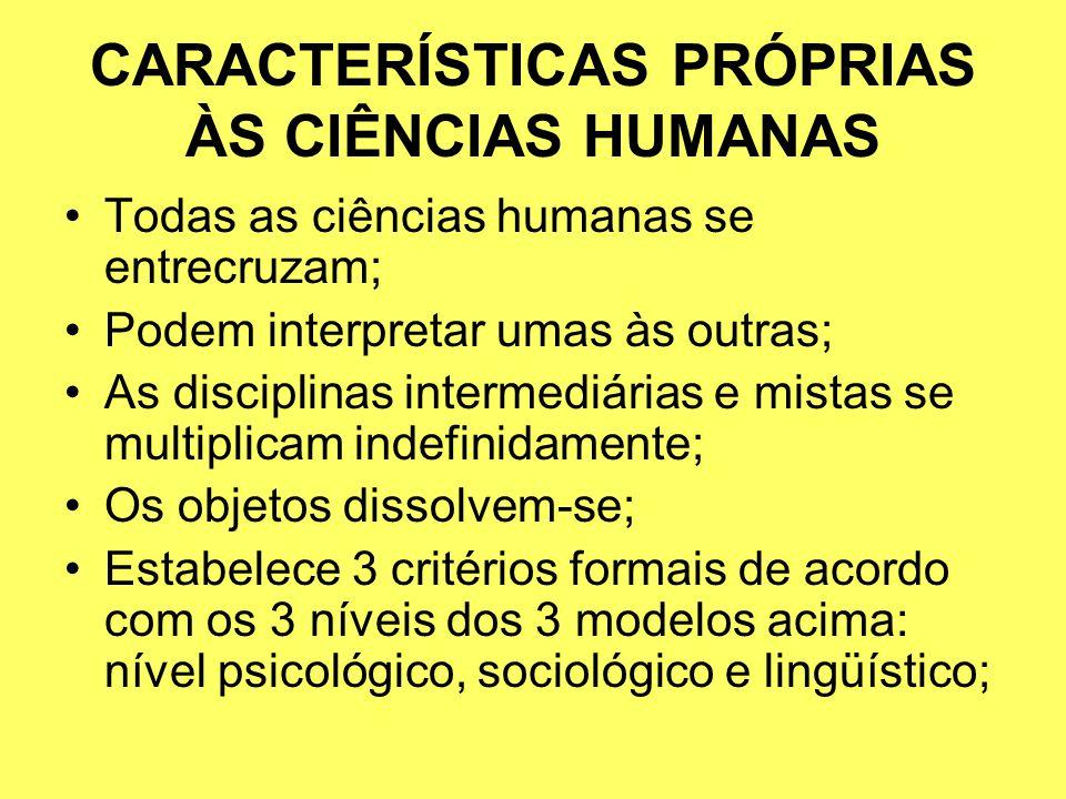 CARACTERÍSTICAS PRÓPRIAS ÀS CIÊNCIAS HUMANAS Todas as ciências humanas se entrecruzam; Podem interpretar umas às outras; As disciplinas intermediárias