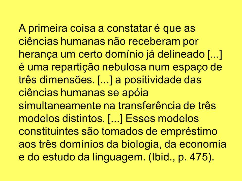 A primeira coisa a constatar é que as ciências humanas não receberam por herança um certo domínio já delineado [...] é uma repartição nebulosa num esp