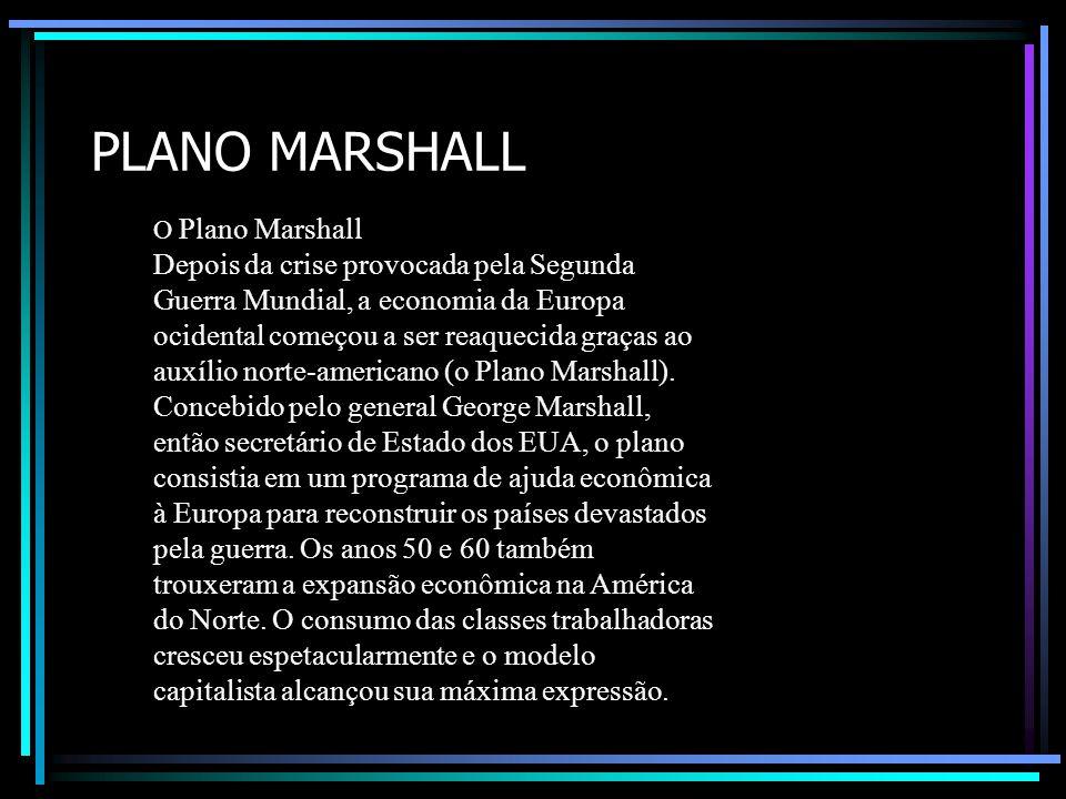 PLANO MARSHALL O Plano Marshall Depois da crise provocada pela Segunda Guerra Mundial, a economia da Europa ocidental começou a ser reaquecida graças