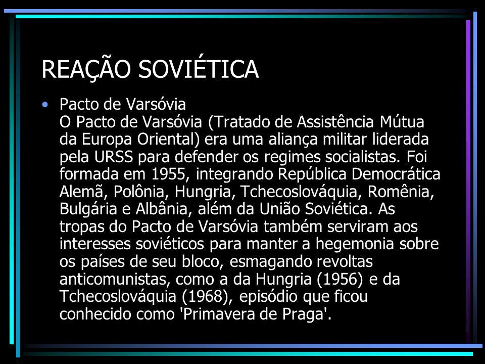 REAÇÃO SOVIÉTICA Pacto de Varsóvia O Pacto de Varsóvia (Tratado de Assistência Mútua da Europa Oriental) era uma aliança militar liderada pela URSS pa