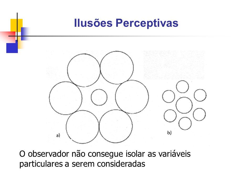 Ilusões Perceptivas O observador não consegue isolar as variáveis particulares a serem consideradas