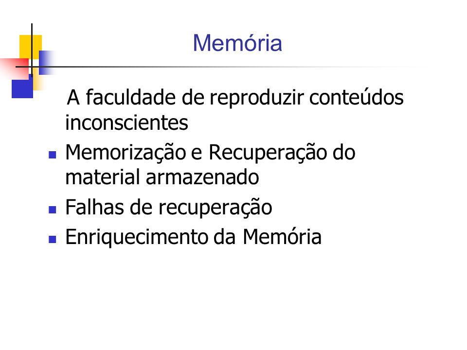 Memória A faculdade de reproduzir conteúdos inconscientes Memorização e Recuperação do material armazenado Falhas de recuperação Enriquecimento da Memória
