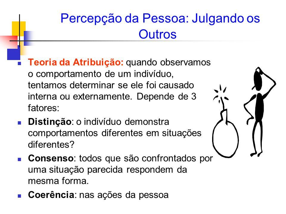 Percepção da Pessoa: Julgando os Outros Teoria da Atribuição: quando observamos o comportamento de um indivíduo, tentamos determinar se ele foi causado interna ou externamente.