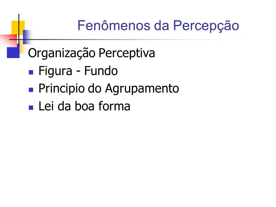Fenômenos da Percepção Organização Perceptiva Figura - Fundo Principio do Agrupamento Lei da boa forma
